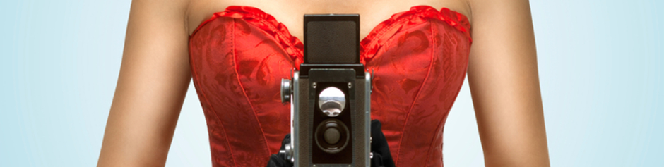 sexy burlesque photo, glamorous lady with camera, teasing